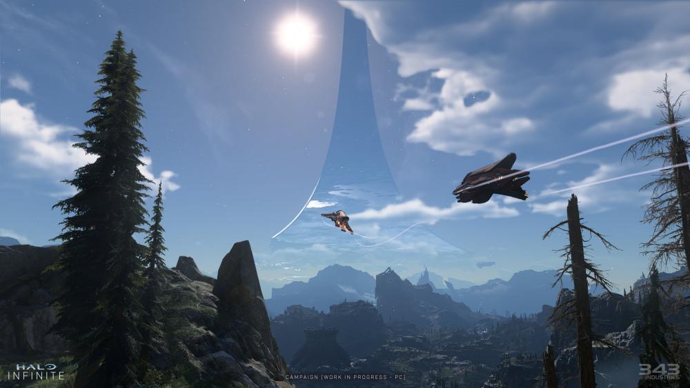 Schermata di gioco di due Banshee che sorvolano Zeta Halo.