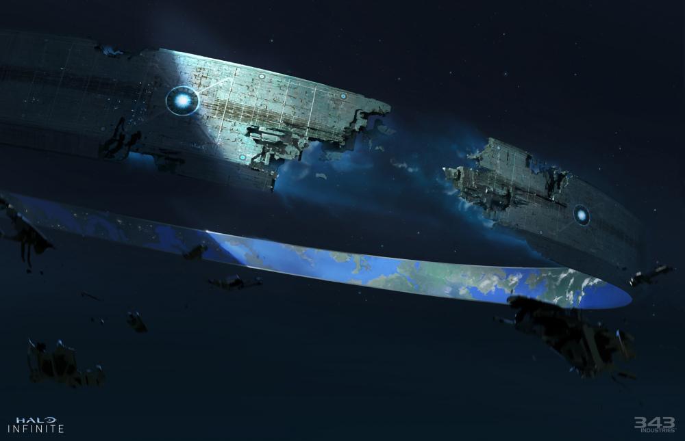 Concept art di una Zeta Halo rotta con detriti che galleggiano nello spazio.