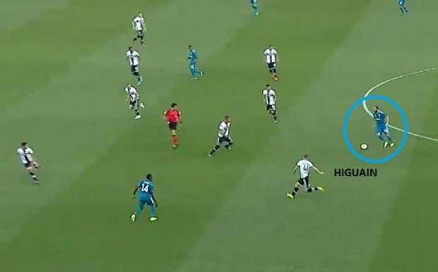 Higuain da play offensivo dopo pochi minuti dell'anticipo