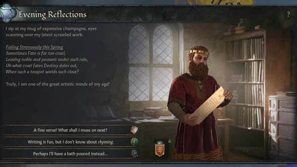 Crusader Kings III Is Getting Very Into Writing Poetry